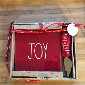 "Rae Dunn Red ""Joy"" Cheese Plate and Knife"